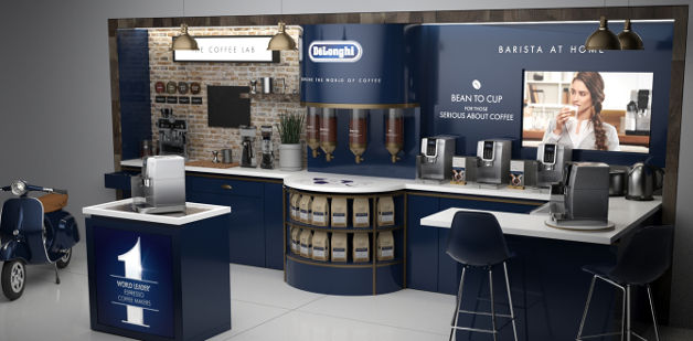 POS retail permanent display harrods delonghi
